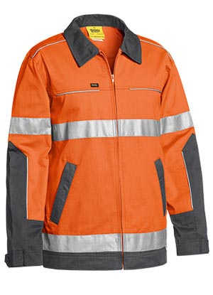 BJ6917T 3M Taped Two Tone Hi Vis Liquid Repellent Cotton Drill Jacket