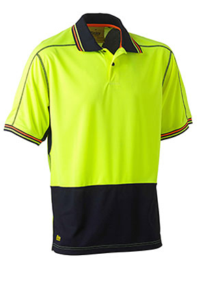 BK1219 Two Tone Hi Vis Polyester Mesh Short Sleeve Polo Shirt