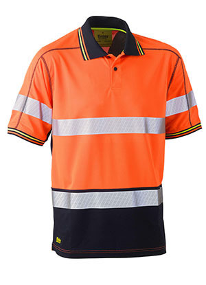 BK1219T Taped Two Tone Hi Vis Polyester Mesh Short Sleeve Polo Shirt