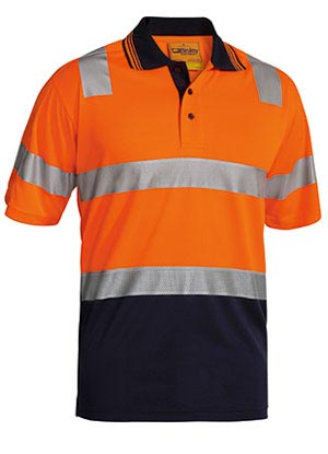 BK1258T 3M Taped Hi Vis Two Tone Micromesh Polo Shirt Short Sleeve