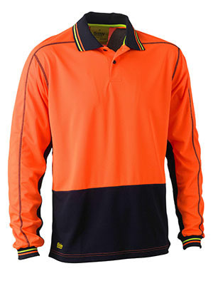 BK6219 Two Tone Hi Vis Polyester Mesh Long Sleeve Polo Shirt