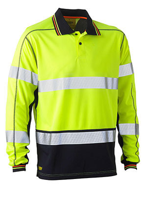 BK6219T Taped Two Tone Hi Vis Polyester Mesh Long Sleeve Polo Shirt