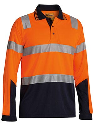 BK6258T 3M Taped Hi Vis Two Tone Micromesh Polo Shirt Long Sleeve