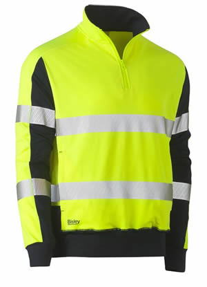 BK6817T Taped Hi Vis Stretchy Fleece Zip Pullover