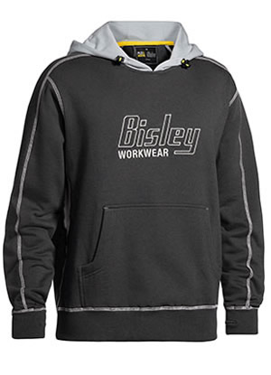 BK6920 Flex and Move Contrast Hoodie Jumper With Bisley Print Logo