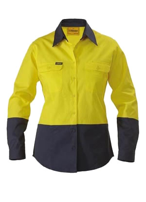 BL6267 Womens 2 Tone Hi Vis Drill Shirt - Long Sleeve