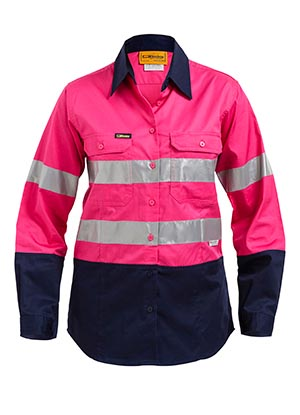 BL6896 2 Tone Hi Vis cool Lightweight Gusset Cuff Shirt 3M Reflective Tape - Womens Long Sleeve