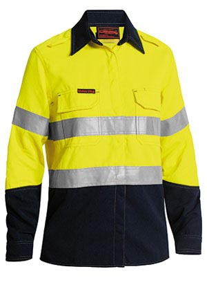 BL8082T Tencate Tecasafe Plus Womens Taped Two Tone Hi Vis FR Vented Long Sleeve Shirt
