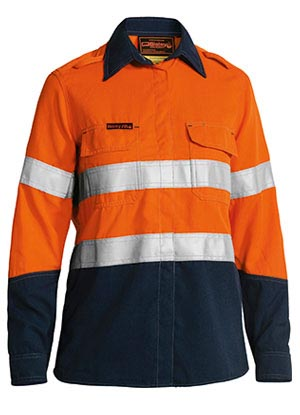 BL8098T Tencate Tecasafe Plus Womens Taped Two Tone FR Hi Vis Lightweight Vented Long Sleeve Shirt