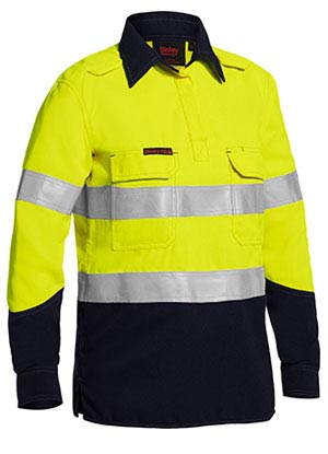 BLC8075T Tencate Tecasafe Plus Womens Taped Two Tone Hi Vis Closed Front Vented Shirt Long Sleeve