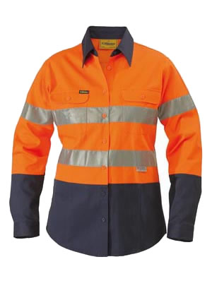 BLT6456 2 Tone Womens Hi Vis Drill Shirt 3M Reflective Tape - Long Sleeve