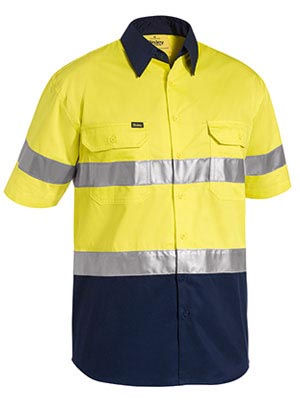 BS1896 3M Taped Two Tone Hi Vis Cool Lightweight Shirt - Short Sleeve