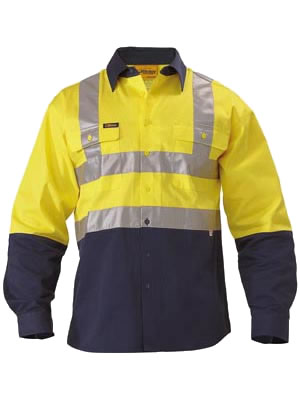 BS6267T 2 Tone Hi Vis Drill Shirt 3M Reflective Tape - Long Sleeve