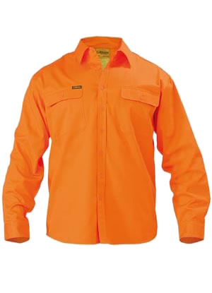 BS6339 Hi Vis Mens Drill Shirt - Long Sleeve