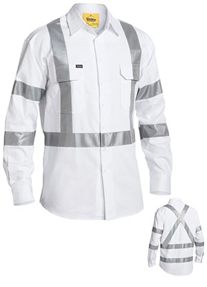 BS6807T 3M Taped White Drill Shirt