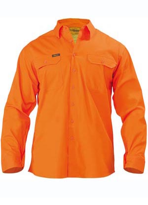 BS6894 Mens Cool Lightweight Gusset Cuff Hi Vis Drill Shirt - Long Sleeve