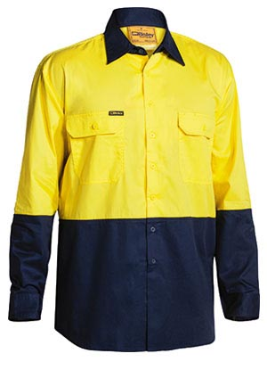 BS6895 2 Tone Hi Vis Cool Lightweight Mesh Ventilated Drill Shirt - Long Sleeve