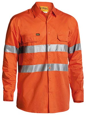 BS6897 Cool Lightweight Gusset Cuff Hi Vis Mens Shirt 3M Reflective Tape - Long Sleeve