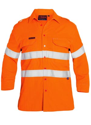 BS8097T Tencate Tecasafe Taped FR Hi Vis Light Weight Vented Long Sleeve Shirt
