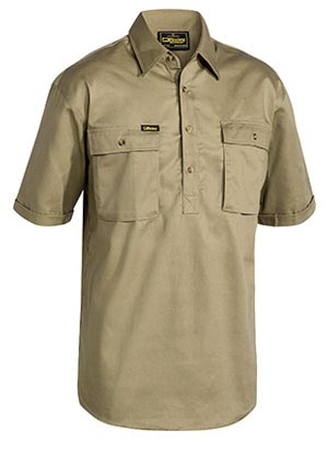 BSC1433 Closed Front Cotton Drill Shirt - Short Sleeve