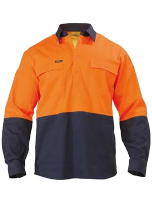 BSC6267 2 Tone Closed Front Hi Vis Drill Shirt - Long Sleeve