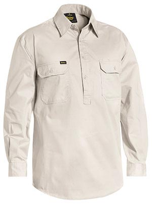 BSC6820 Closed Front Cotton Light Weight Drill Shirt - Long Sleeve