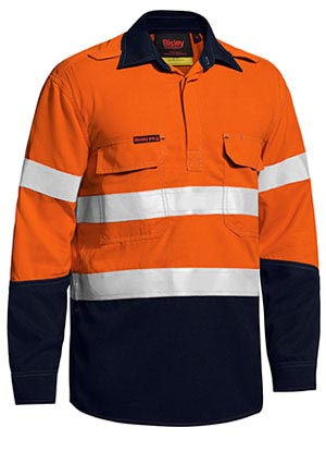BSC8075T Tencate Tecasafe Plus Taped Two Tone Hi Vis Closed Front Vented Shirt Long Sleeve