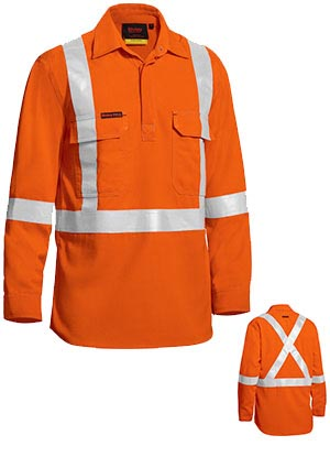 BSC8176T Tencate Tecasafe Plus Taped Hi Vis Closed Front Lightweight FR Shirt Long Sleeve