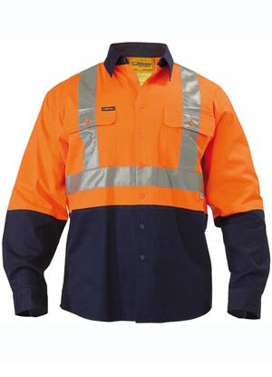BT6458 2 Tone Hi Vis Reflective Drill Shirt - Long Sleeve